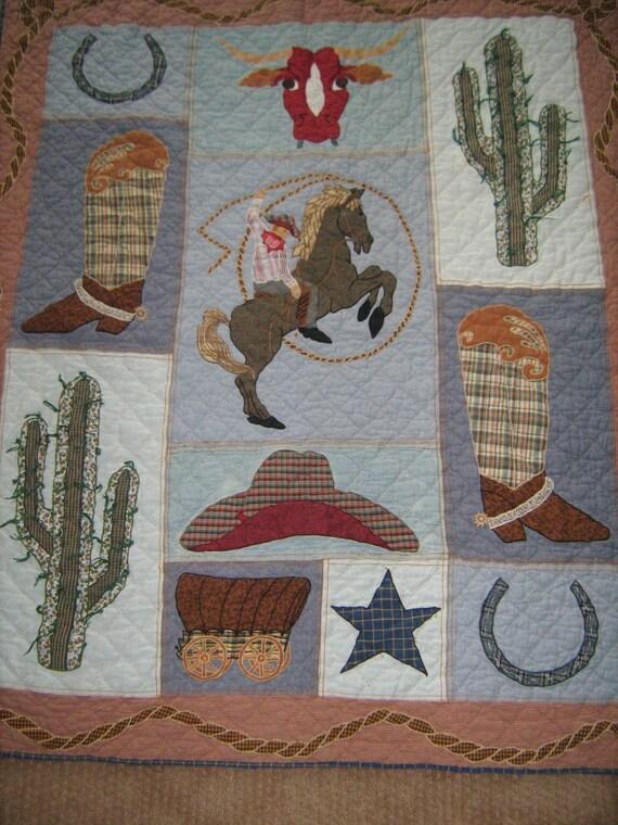 "vintage retro  QUILT, western, cowboy 56"" by 48"" PATCH MAGIC"