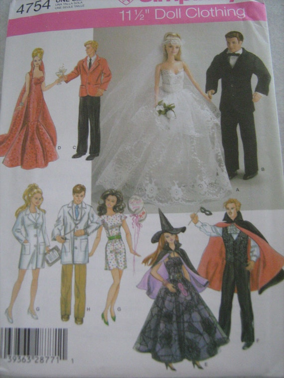 SIMPLICITY crafts,  doll's BARBIE and KEN,  clothes sewing pattern   for fashion doll, evening, casual, wedding,costume, doctor uniform 4754