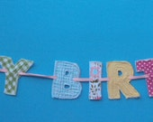 Happy Birthday fabric banner/photo prop/birthday banner/children birthday/children party/girl party/bunting/pennant banner/party decoration