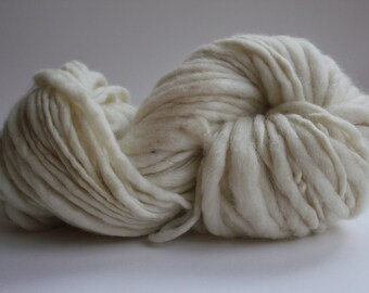 Ivory Hand Spun, Hand Dyed  Thick and Thin   Super Bulky Wool Yarn