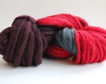 Red / Dark Gray  Hand Spun Hand Dyed  Thick-n-Thin   Super Chunky  Wool Yarn