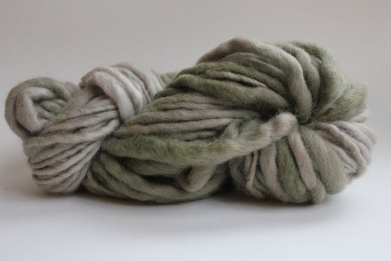 Sage/ Beige  Hand Spun Hand Dyed  Thick and Thin   Super Bulky Wool Yarn