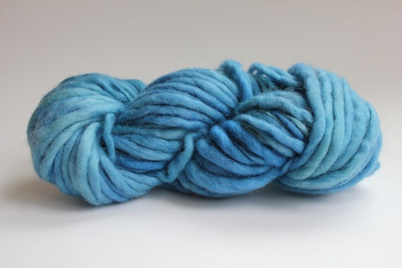 Blue Hand Spun Hand Dyed Thick and Thin Soft Chunky Wool Yarn
