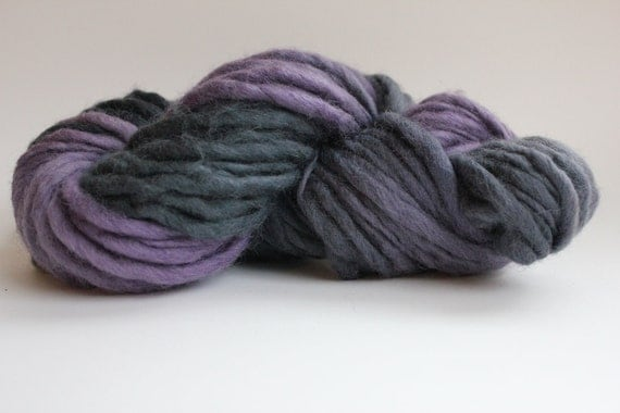 Lilac / Dark  Gray  Hand Spun Hand Dyed  Thick and Thin   Super Bulky Wool Yarn