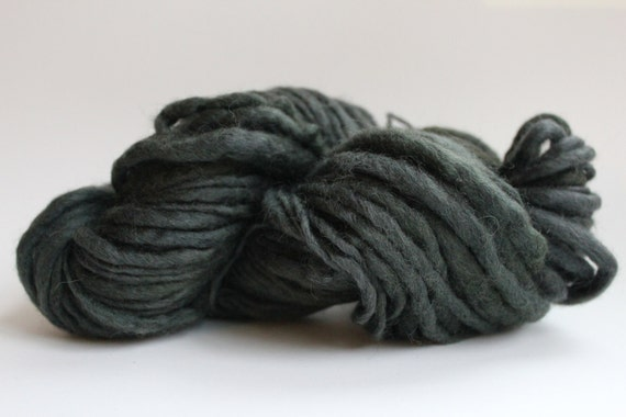 Olive Color  Hand Spun Hand Dyed  Thick and Thin   Super Chunky  Wool Yarn