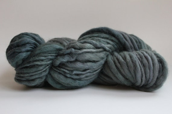 Hand Spun Hand Dyed  Thick and Thin   Super Bulky Wool Yarn Dusty Blue / Green Color