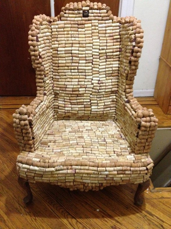 Custom Repurposed corks and furniture- this exact chair NOT FOR SALE, but I'll make you one.