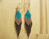 long and pointed SALMON brick-stiched delica seed bead earrings