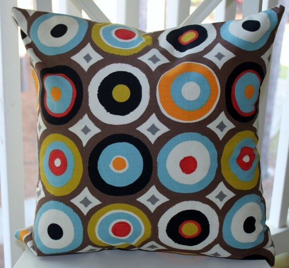 Reserved forlisting Essence - Decorative Modern Circle Pillow Blue Orange Red Giddy Festival Pillow Cover 20 x 20 Throw Pillow