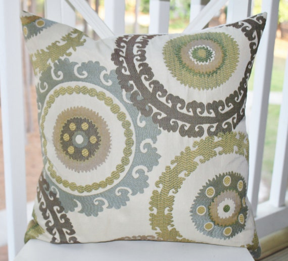 Blue Brown Green Throw Pillows : Decorative Pillow Cover 16 x 16 Suzani Blue Brown and Green