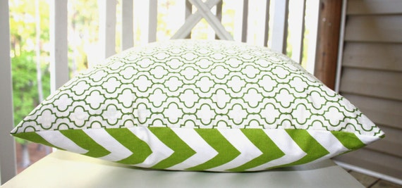 Decorative Pillow Cover - 16x16 Green and  White Chevron Zig Zag Front and  Trellis Pattern Back Designer Pillow Cover - Throw Pillow