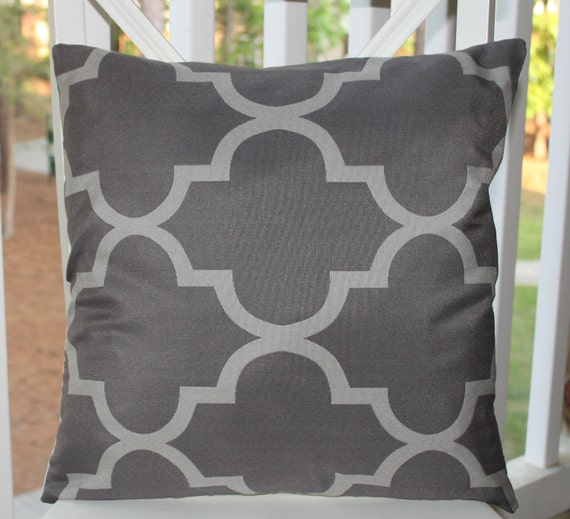 Decorative Pillow Cover -  18x18 Grey Moroccan Pillow Covers -  GrayTrellis Pattern Throw Pillow Cover