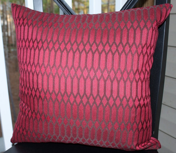 Decorative Pillow Cover - 18x18 Berry Pink Wine Burgundy Brown Geometric Pillow Cover- Throw Pillow