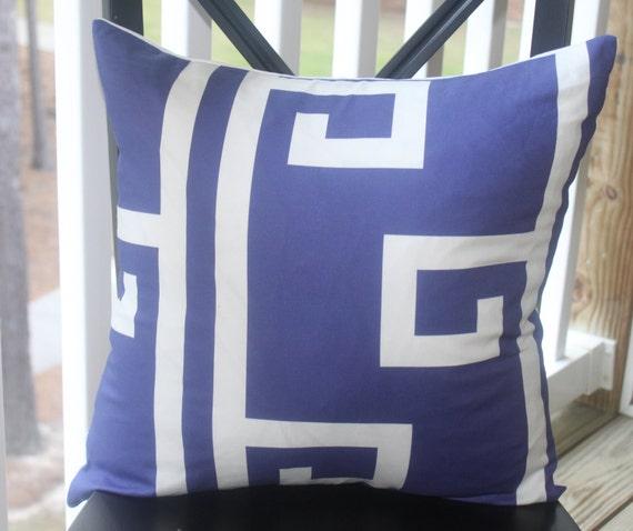 Decorative Pillow Cover - 16 x16 Dark Cobalt Blue White Greek Key Pattern Pillow Cover - Throw Pillow
