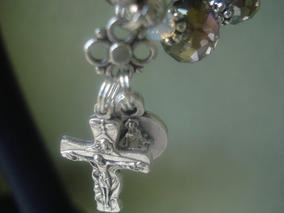 Rosary Bracelet Silver Faceted Beads- Rosary Bracelet Silver Faceted Mirrored Rondell beads and trinity crucifix