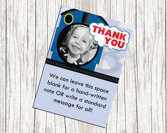 Thomas the Tank Engine Birthday Thank You Card - Custom with Photo
