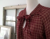 Sheer Burgundy Tie Blouse with Gold Details