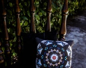 Accent Pillow with Fear Shelter Mandala w/ Black on Black Paisley backing fabric (Pre-stuffed with Handmade Fill))