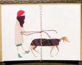 card set of 8, Greyhound dog walking, Sleek and Savvy