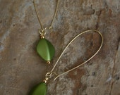 Gold and lime green dangle earrings