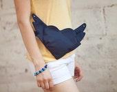 Hip Bag Purse Belt Bag Purse Winged Heart Black Bag Purse Hands Free Bag Club Kid Urban Bag Purse Hipster Style Spring Bag