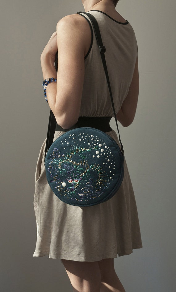 Round Purse Bag Turquoise Bag Asian Water Dragon Hand Painted Bag Teal Cross Body Bag Purse Velour Bag Acrylic Painting Fall Fashion Boho