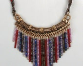 Handmade Beaded Necklace with A Rainbow of Colors & Dangles