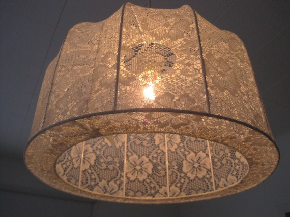 Lampshade, Pendant light Vintage lace in shabby chic style