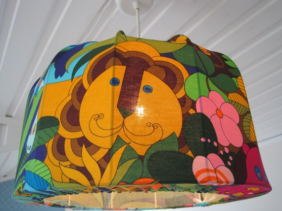Lamp shade, Pendant light Jungle animals in Retro fabric