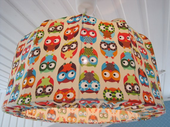 Large OWL Lampshade, Pendant light for kids room made in Retro Style
