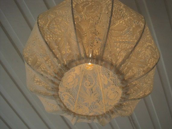 Lampshade in Lace shabby chic Style, for pendant or table Lamp