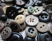 79 Vintage Antique Painted Paper and Leather Buttons Rustic Collection