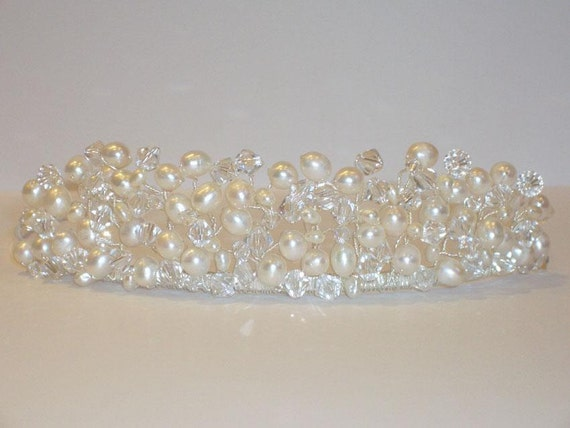 Swarovski Crystal & Pearl Bridal Tiara Wedding, custom made in over 100 colours - Amelia Tiara Design