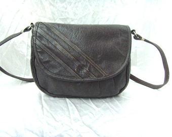 Vintage Leather 80's Brown Little Bag Crossbody On Shoulder Long Strap