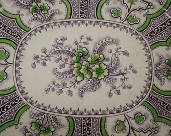 """SALE Stone China """"Water Lilly"""" Transferware Platter Purple and Green"""