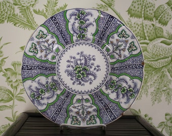Antique English Water Lilly Imperial Stone China purple and green bowl John Ridgway