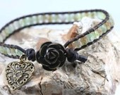 Leather and Czech Glass Wrap Bracelet - Chan Luu inspired. Great for layering
