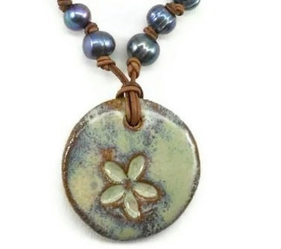 Flower Pendant and Pearl Necklace - One of a kind