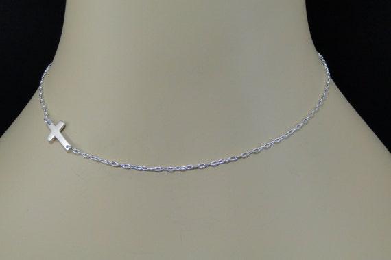 Sterling Silver Sideways Cross Necklace, Sideway Cross, Side Cross Necklace, Silver Cross, Celebrity Sideways Cross Necklace
