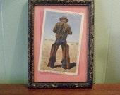 Framed Cowboy Postcard 40's