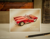 "Greeting Card : '62 Red Corvette Covertible ""Instant Celebrity"""