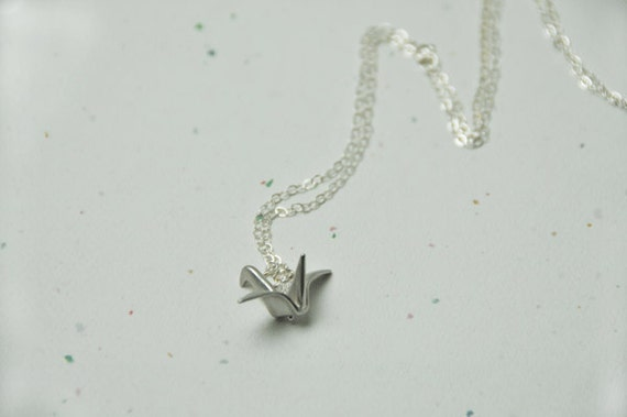 Sterling Silver Necklace, Modern Origami Cane charm