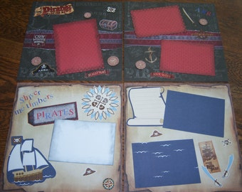 """set of 4- 12x12 Premade scrapbook pages, Pirate Theme for 4""""x 6"""" and 5""""x7"""" photos"""