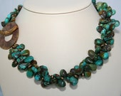 Turquoise necklace with copper spacers and Saki copper pendant