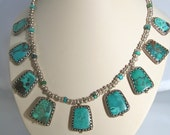 Tibetan turquoise necklace with sterling silver spacers