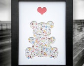 Snuggles - Framed Hand Crafted Art Picture, Teddy Bear with Heart, 3D home décor. Ideal gift for a christening, new born & birthday.