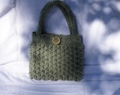 Frosty Green Fleck Crochet Purse