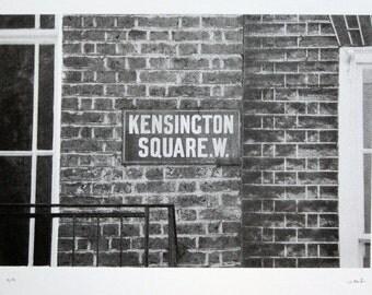 London - Kensington Square - limited edition screenprint