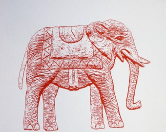 Elephant in Red - limited edition screenprint