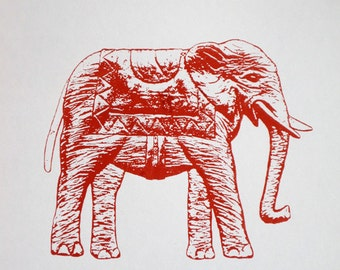 Elephant in Red (Dark Version) - limited edition screenprint